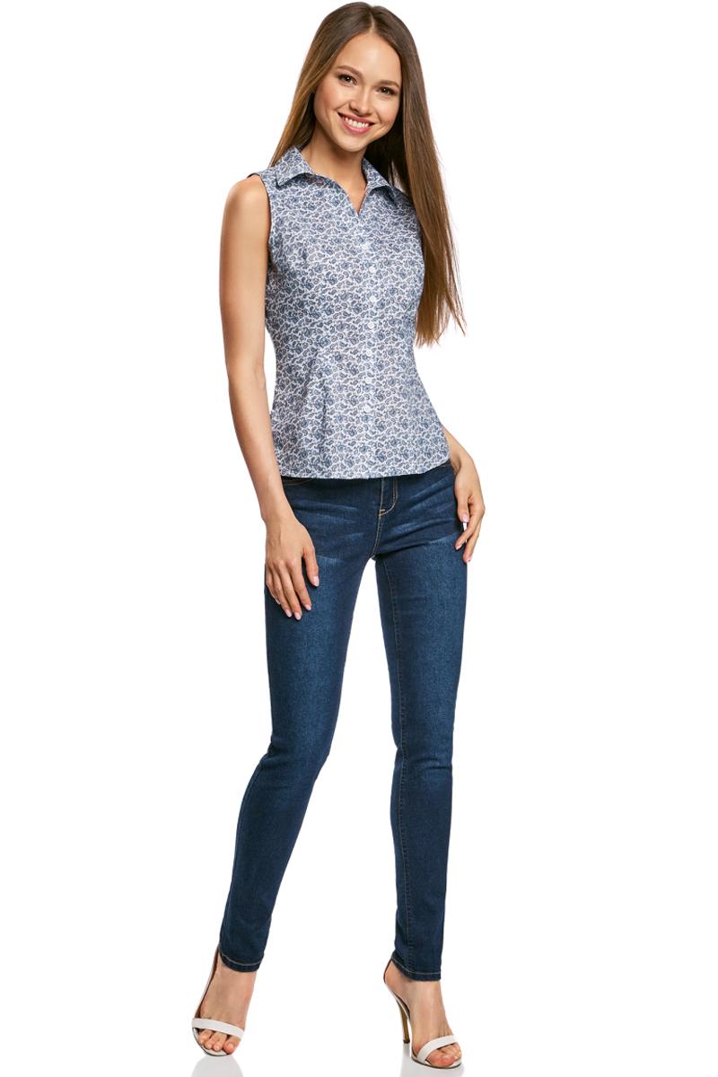 Купить Рубашка женская oodji Ultra, цвет: белый, темно-синий. 11405063-4B/45510/1079E. Размер 36-170 (42-170)
