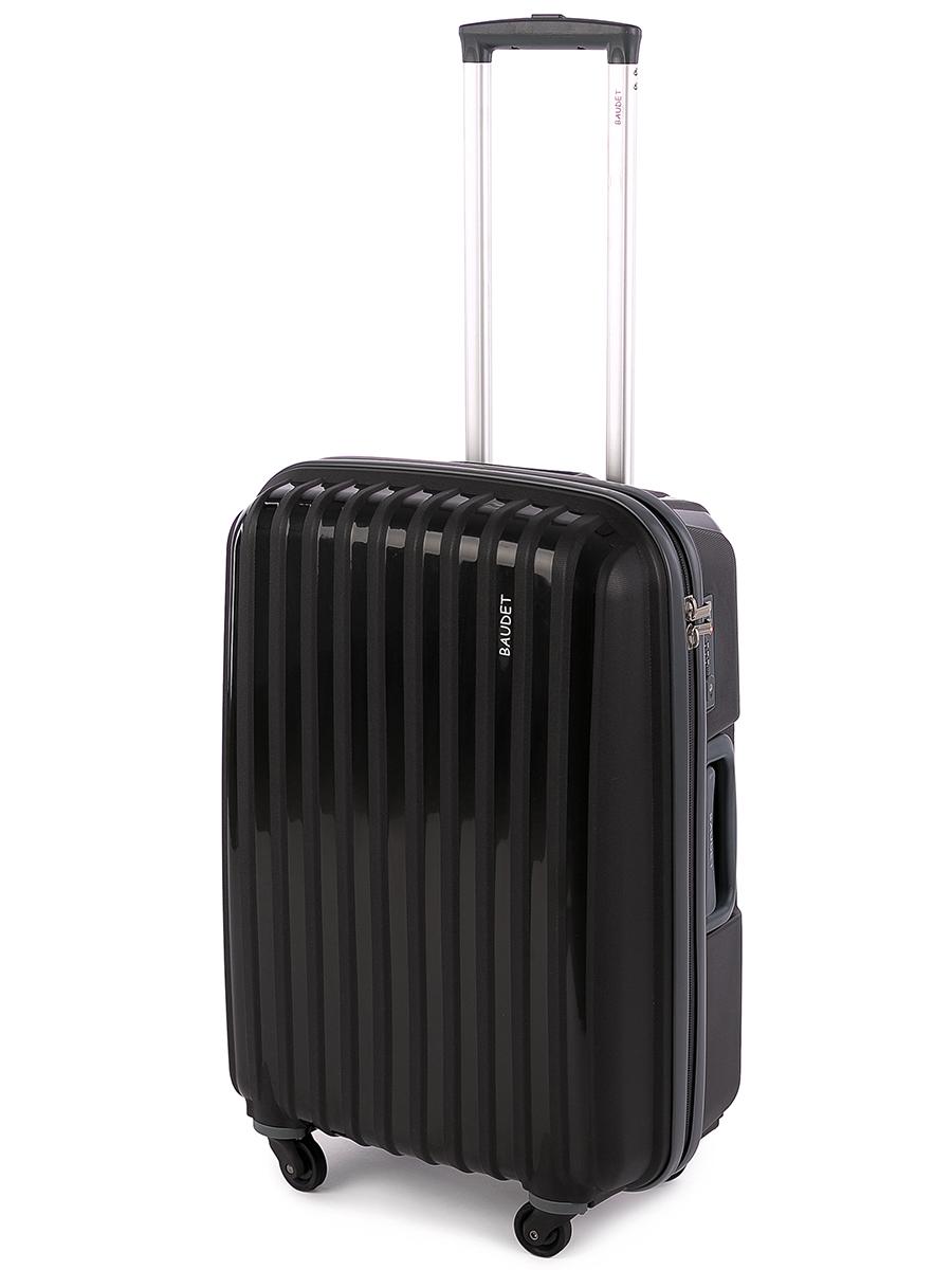 Чемодан Baudet, цвет: черный, 60 х 42 х 24 см, 60 л чемодан baudet на колесах цвет черный красный 47 х 29 х 65 см 88 л