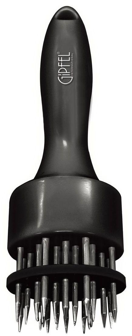 Тендерайзер Gipfel, цвет: черный, длина 19 см6268Тендерайзер Gipfel - это ручной аппарат для приготовления высококачественных отбивных. Разрыхлитель выполнен из прочного пищевого пластика со стальными стержнями. В отличие от отбивки молотком, обработка мяса тендерайзером не нарушает структуру мяса и его внешний вид. Мясо прокалывается в сотнях мест острыми ножами тендерайзера, благодаря чему оно становится мягче. Отложив в сторону молоток для отбивания мяса, и воспользовавшись тендерайзером, вы убедитесь в том, что любое мясо без костей после разрыхления жарится гораздо быстрее и остается мягким и сочным.Можно мыть в посудомоечной машине.