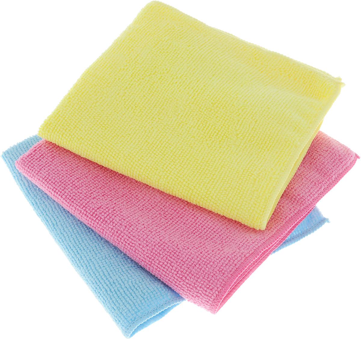 Набор салфеток для уборки Sol, из микрофибры, 30 x 30 см, 3 шт10035_розовый/голубой/желтыйНабор салфеток Sol выполнен из микрофибры. Микрофибра - это ткань из тонких микроволокон, которая эффективно очищает поверхности благодаря капиллярному эффектумежду ними. Такая салфетка может использоватьсякак для сухой, так и для влажной уборки. Деликатно очищает любые поверхности, не оставляя следов и разводов. Идеально подходит для протирки полированной мебели. Сохраняетсвои свойства после стирки.Размер салфетки: 30 х 30 см.