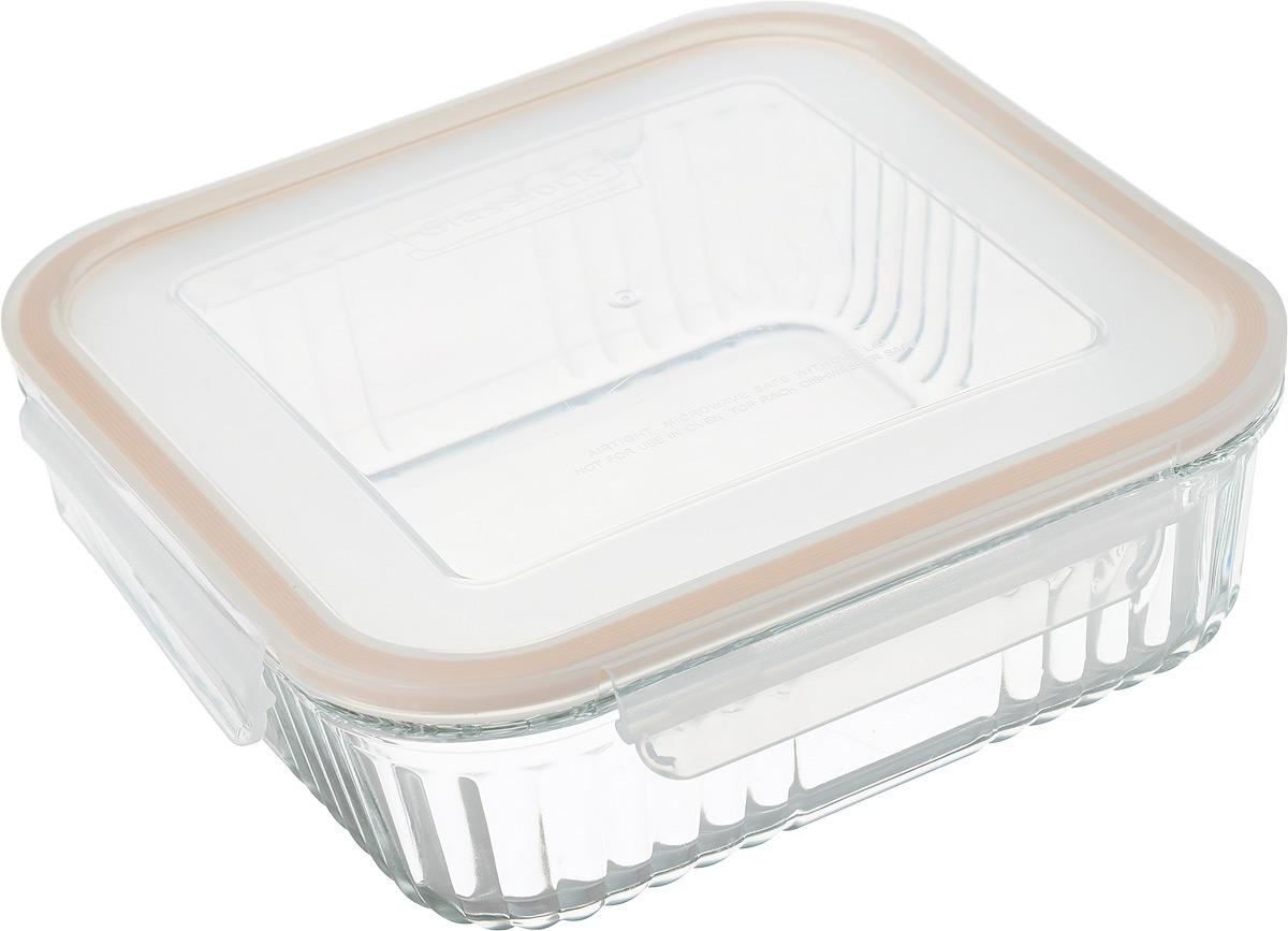 Контейнер для запекания Glasslock, квадратный, цвет: прозрачный, оранжевый, 1,9 л контейнер для запекания glasslock ocst 210 цвет прозрачный оранжевый 2 1 л