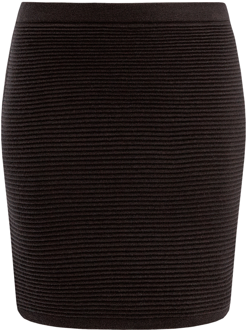 Юбка oodji Ultra, цвет: черный. 63612028-1/45429/2900N. Размер XL (50)63612028-1/45429/2900NВязаная мини-юбка oodji в рубчик выполнена из высококачественной пряжи.