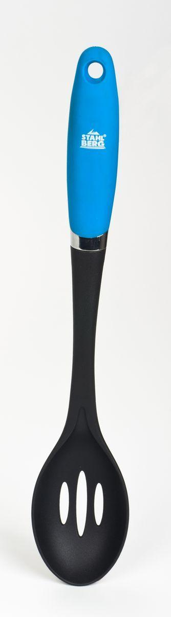 Ложка кулинарная Stahlberg Pluton, с прорезями, цвет: голубой, длина 33,7 см9943-SКулинарная ложка Stahlberg Pluton изготовлена только из качественных, экологически чистых материалов. Качественные кухонные инструменты помогают готовить значительно быстрее и затрачивать при этом минимум энергии. Кулинарная ложка Stahlberg Pluton выполнена из нейлона, который безопасен для антипригарных покрытий. Удобная прорезь облегчает хранение в подвешенном виде. Легкость мойки упрощает ежедневный труд.