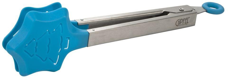 Щипцы для продуктов Gipfel Carnival, цвет: голубой, длина 25,5 см9984Щипцы для продуктов Gipfel Carnival идеально подойдут для того, чтобы аккуратно разложить порции приготовленной пищи по тарелкам. Щипцы изготовлены из высококачественной нержавеющей стали 18/0 и силикона. Сталь данной марки отличается высокими эксплуатационными характеристиками и устойчивостью к физическим воздействиям. Отличительной чертой металлической посуды, выполненной из подобной стали, является характерный сероватый оттенок поверхности и особый блеск. Силиконовая рабочая поверхность безопасна для посуды с антипригарным покрытием, для эмалированной посуды и посуды из нержавеющей стали. На ручке имеется специальное кольцо, с помощью которого щипцы фиксируются в собранном положении. Можно мыть в посудомоечной машине.