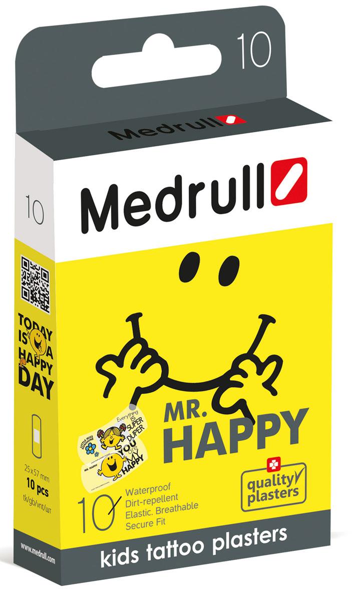 """Лейкопластыри медицинские Medrull детские в стрипах , тату """"Mr. Happy Smile"""""""