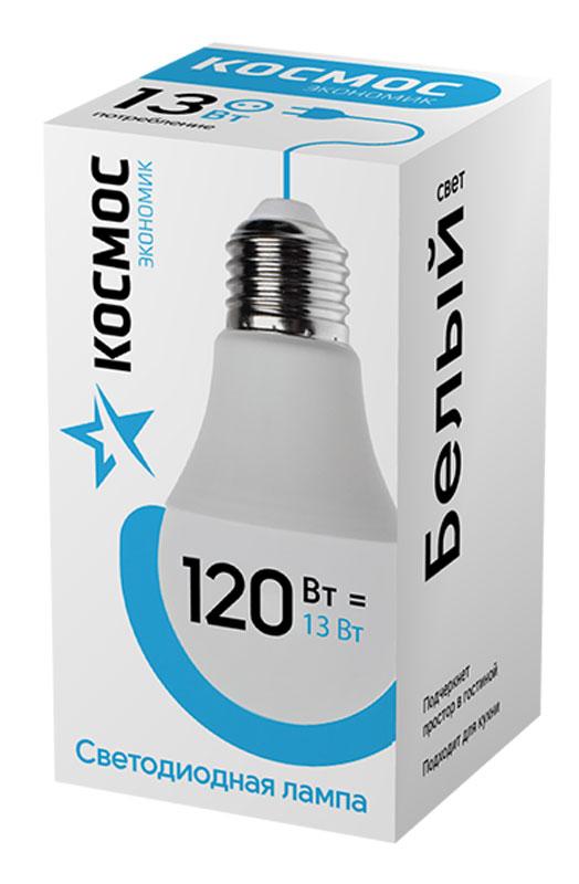 Лампа светодиодная Космос Экономик, 220V, А60, холодный свет, цоколь Е27, 13WLkecLED13wA60E2745Декоративная светодиодная лампа Экономик является аналогом лампы накаливания 120 Вт. В основе лампы используются чипы от мирового лидера Epistar- что обеспечивает надежную и стабильную работу в течение всего срока службы (25 000 часов). До 90% экономии энергии по сравнению с обычной лампой накаливания (сопоставимы по размеру). Стабильный световой поток в течение всего срока службы; экологическая безопасность (не содержит ртути и тяжелых металлов). Мягкое и равномерное распределение света повышает зрительный комфорт и снижает утомляемость глаз. Благодаря высокому индексу цветопередачи свет лампы комфортен и передает естественные цвета и оттенки. Инструкция по эксплуатации и гарантийный талон - в комплекте.