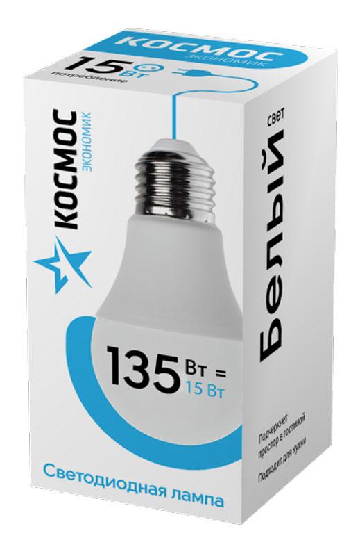 Лампа светодиодная Космос Экономик, 220V, А60, холодный свет, цоколь Е27, 15WLkecLED15wA60E2745Декоративная светодиодная лампа Экономик является аналогом лампы накаливания 135 Вт. В основе лампы используются чипы от мирового лидера Epistar- что обеспечивает надежную и стабильную работу в течение всего срока службы (25 000 часов). До 90% экономии энергии по сравнению с обычной лампой накаливания (сопоставимы по размеру). Стабильный световой поток в течение всего срока службы; экологическая безопасность (не содержит ртути и тяжелых металлов). Мягкое и равномерное распределение света повышает зрительный комфорт и снижает утомляемость глаз. Благодаря высокому индексу цветопередачи свет лампы комфортен и передает естественные цвета и оттенки. Инструкция по эксплуатации и гарантийный талон - в комплекте.Индекс цветопередачи: Ra>70. Угол светового пучка: 270. Размер лампы (мм): 60 х 110.Температура использования: от -40 до +40°С. Класс энергоэффективности: Класс A.