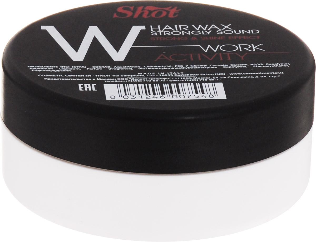 Shot Work Activity Hair Wax Strongly Shine Effect - Воск сильной фиксации и эффектом блеска 100 млSHWA113Идеально подходит для моделирования коротких стрижек и эпатажных укладок на базе волос средней длины.За счет натурального состава, основанного на сочетании пчелиного и фруктовых восков, средство мягко обволакивает каждый волосок тончайшим слоем, который надежно фиксирует форму прически, защищает локоны от температурного негатива и механических повреждений, а также наполняет гламурным глянцевым блеском.С каждым использованием улучшает состояние локонов.Содержит натуральный кератин, коллаген и витамины.Реконструирует поврежденные участки волосяного стержня, делает пряди сильными и шелковистыми.