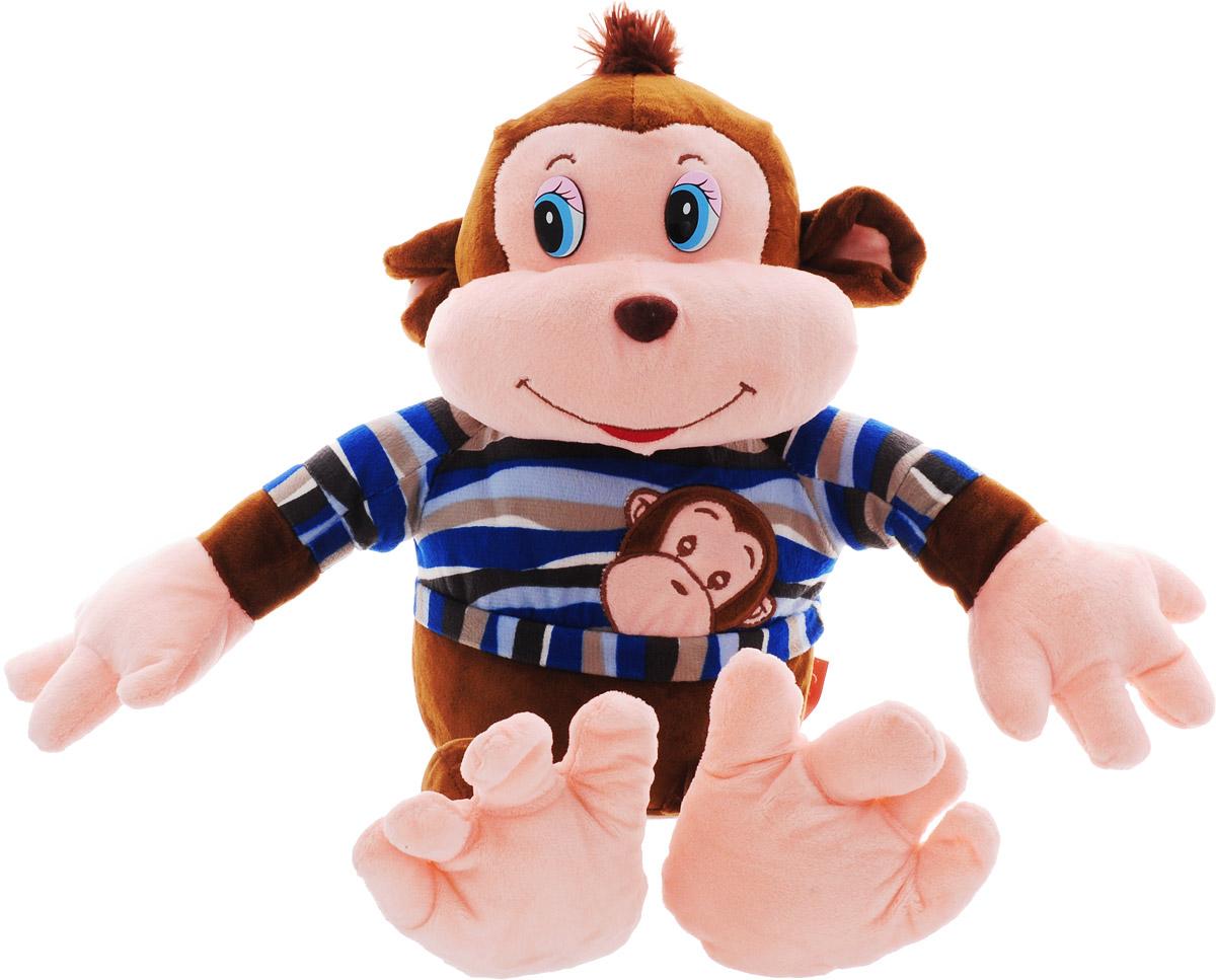 Magic Bear Toys Мягкая игрушка Обезьяна Тихон цвет одежды синий 30 см