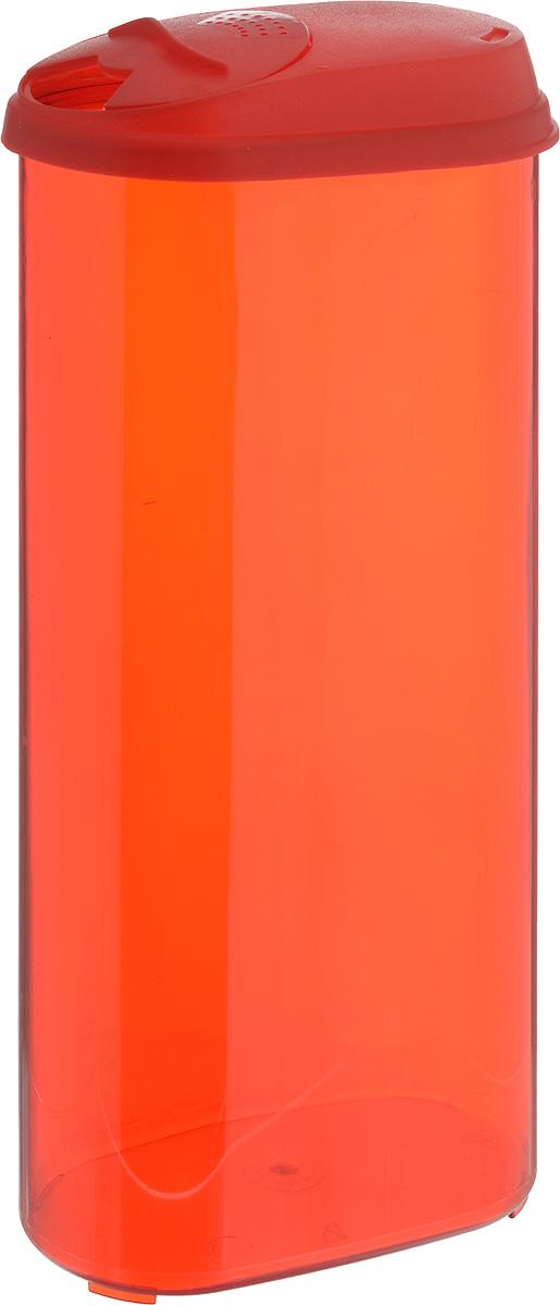 Банка для сыпучих продуктов Giaretti, с дозатором, цвет: красный, 2,4 лGR3612_красныйБанка для сыпучих продуктов Giaretti выполнена из высококачественного пластика. Банка предназначена для хранения круп, сахара, макаронных изделий и в том числе для продуктов с ярким ароматом (специи и прочее). Плотно прилегающая крышка не пропускает запахи содержимого в шкаф для хранения, при этом продукт не теряет своего аромата. Двойной дозатор предназначен для мелких и крупных сыпучих продуктов. Можно мыть в посудомоечной машине. Объем: 2,4 л.Диаметр (по верхнему краю): 14,5 x 8,5 см.Высота (с учетом крышки): 30 см.