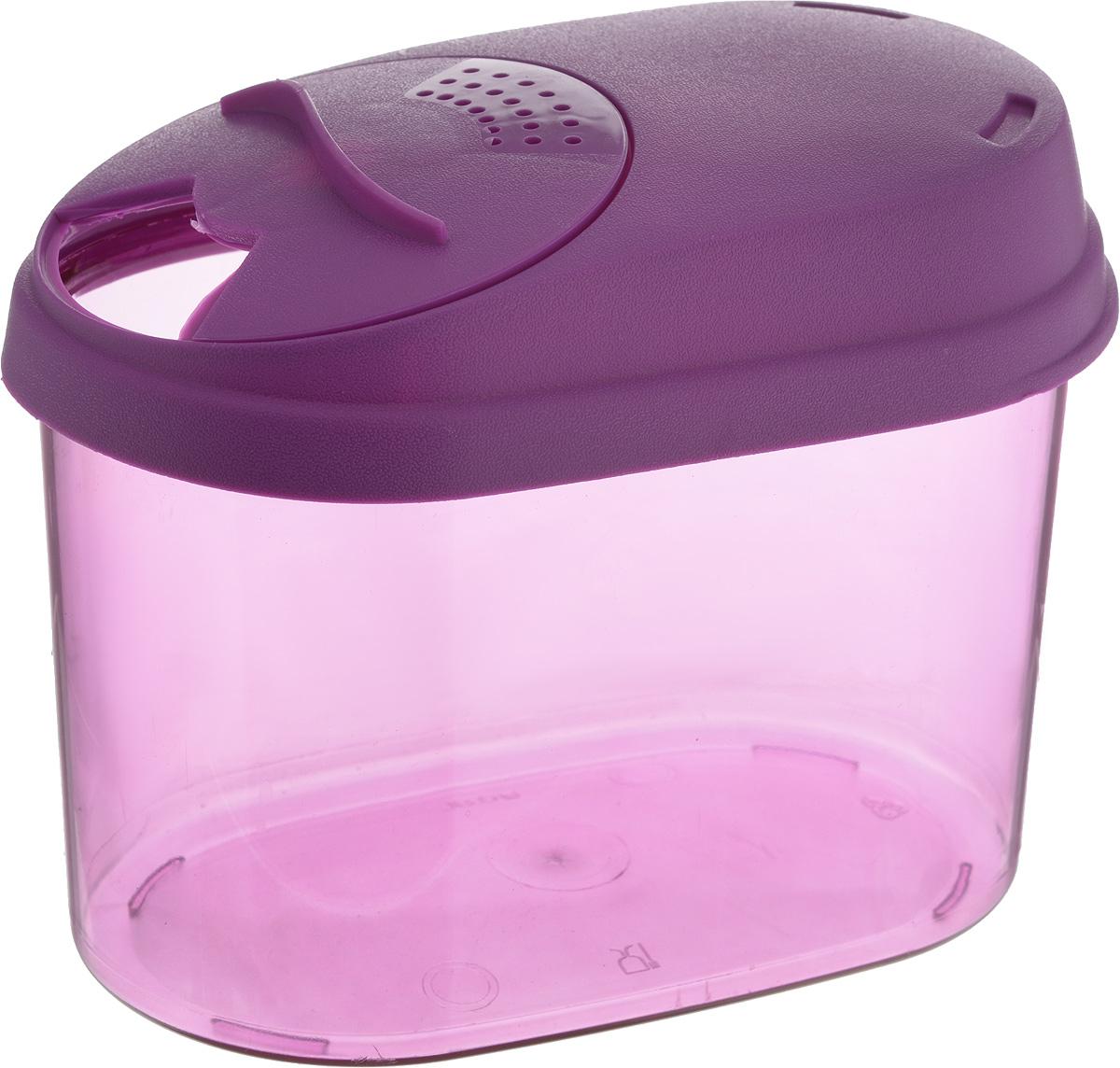 """Банка для сыпучих продуктов """"Giaretti"""" выполнена из высококачественного пластика. Банка  предназначена для хранения круп, сахара, макаронных изделий и в том числе для продуктов с  ярким ароматом (специи и прочее). Плотно прилегающая крышка не пропускает запахи  содержимого в шкаф для хранения, при этом продукт не теряет своего аромата. Двойной  дозатор предназначен для мелких и крупных сыпучих продуктов. Банки легко устанавливаются  одна на другую. Можно мыть в посудомоечной машине.  Объем: 0,8 л. Размер (по верхнему краю): 14,5 x 8,5 см. Высота (с учетом крышки): 11 см."""