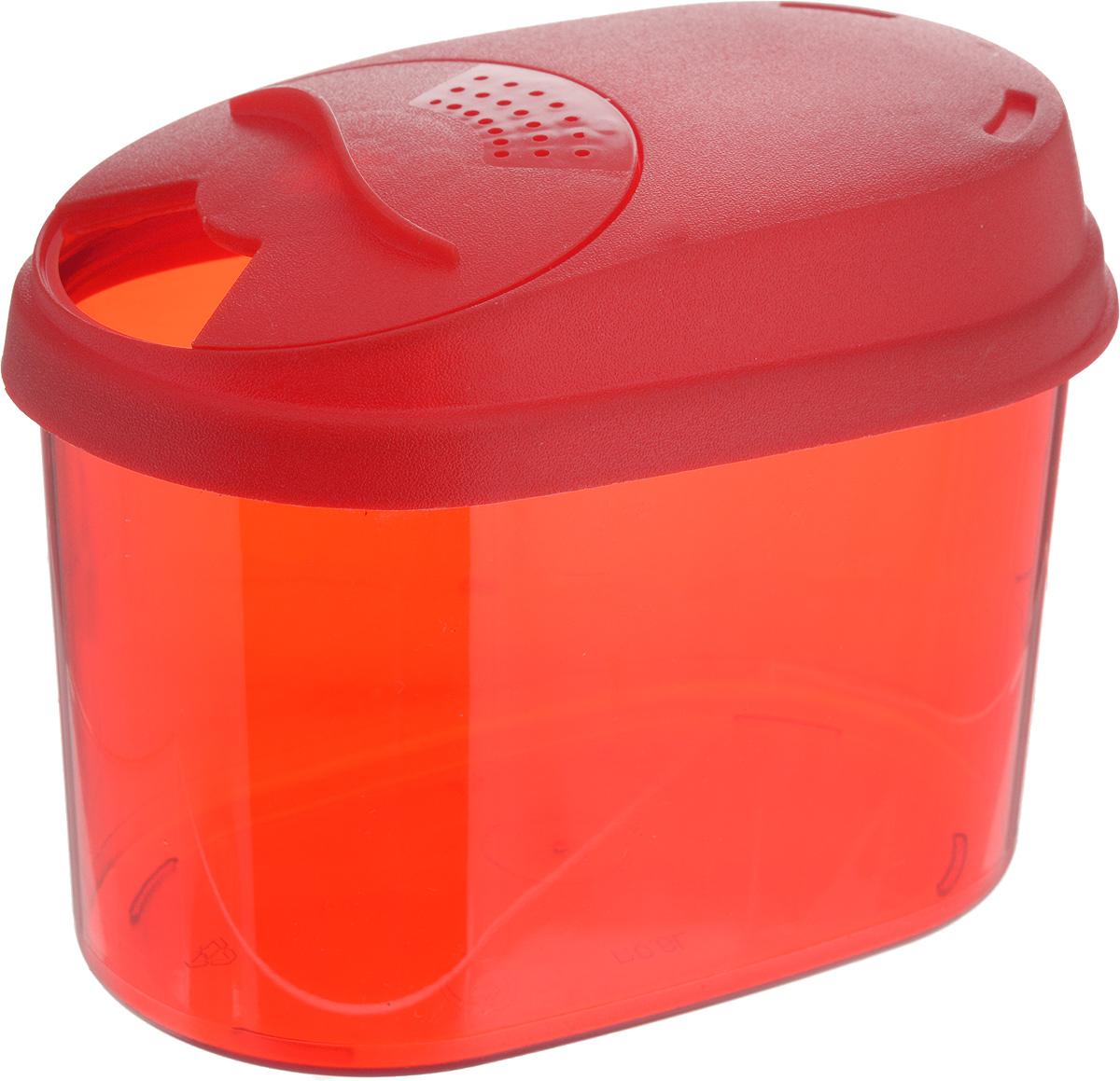 Банка для сыпучих продуктов Giaretti, с дозатором, цвет: красный, 0,8 лGR3610_красныйБанка для сыпучих продуктов Giaretti выполнена из высококачественного пластика. Банка предназначена для хранения круп, сахара, макаронных изделий и в том числе для продуктов с ярким ароматом (специи и прочее). Плотно прилегающая крышка не пропускает запахи содержимого в шкаф для хранения, при этом продукт не теряет своего аромата. Двойной дозатор предназначен для мелких и крупных сыпучих продуктов.Можно мыть в посудомоечной машине. Объем: 0,8 л.Размер (по верхнему краю): 14,5 x 8,5 см.Высота (с учетом крышки): 11 см.