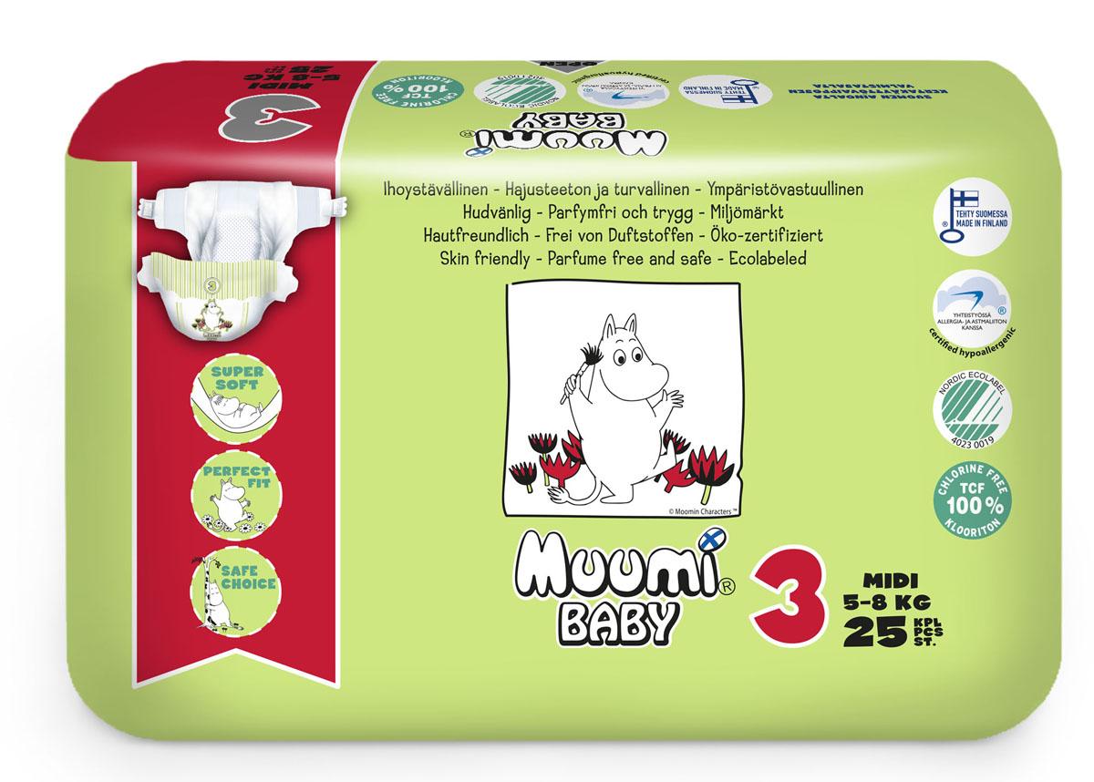 Muumi Baby Подгузники детские Миди (размер 3) 5-8 кг 25 шт