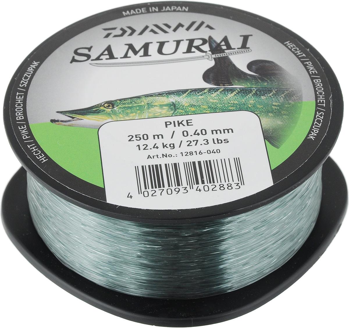 Леска Daiwa Samurai Pike, цвет: светло-оливковый, 250 м, 0,4 мм, 12,4 кг леска daiwa samurai pike цвет светло оливковый 350 м 0 35 мм 10 1 кг