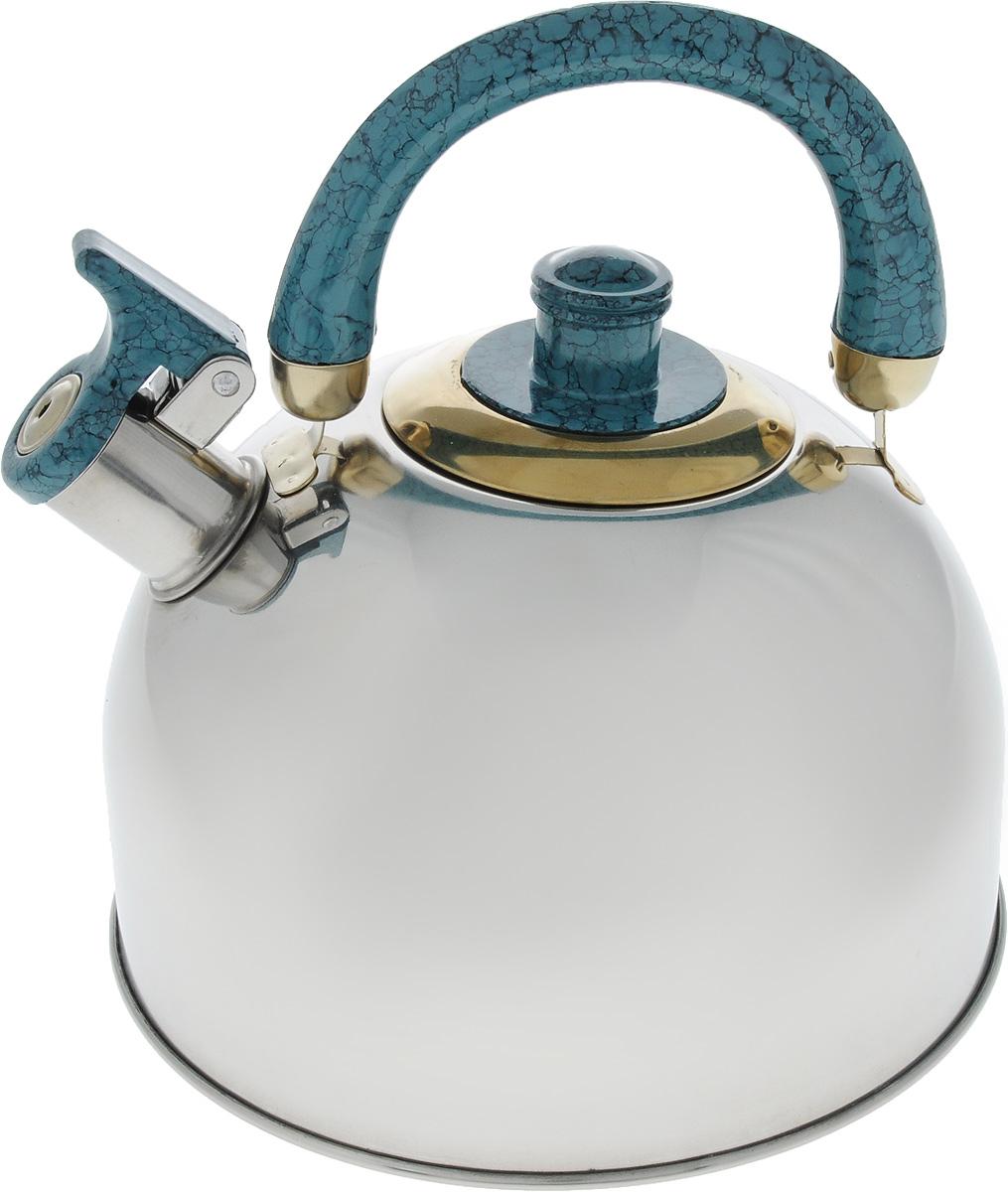 Чайник Mayer & Boch, цвет: стальной, бирюзовый, золотой, 4 л. 1046A1046A_стальной, бирюзовый, золотойЧайник Mayer & Boch изготовлен из высококачественной нержавеющей стали с зеркальной полировкой, что делает его весьма гигиеничным и устойчивым к износу при длительном использовании. Гладкая и ровная поверхность существенно облегчает уход за посудой. Выполненный из качественных материалов чайник при кипячении сохраняет все полезные свойства воды. Носик чайника имеет откидной свисток, звуковой сигнал которого подскажет, когда закипит вода. Крышка, свисток и ручка выполнены из бакелита.Классический дизайн чайника Mayer & Boch дополнит любую кухню. Подходит для использования на всех типах кухонных плит, кроме индукционных.Высота чайника (с учетом ручки): 21 см. Высота чайника (без учета ручки и крышки): 12 см. Диаметр по верхнему краю: 8,5 см.