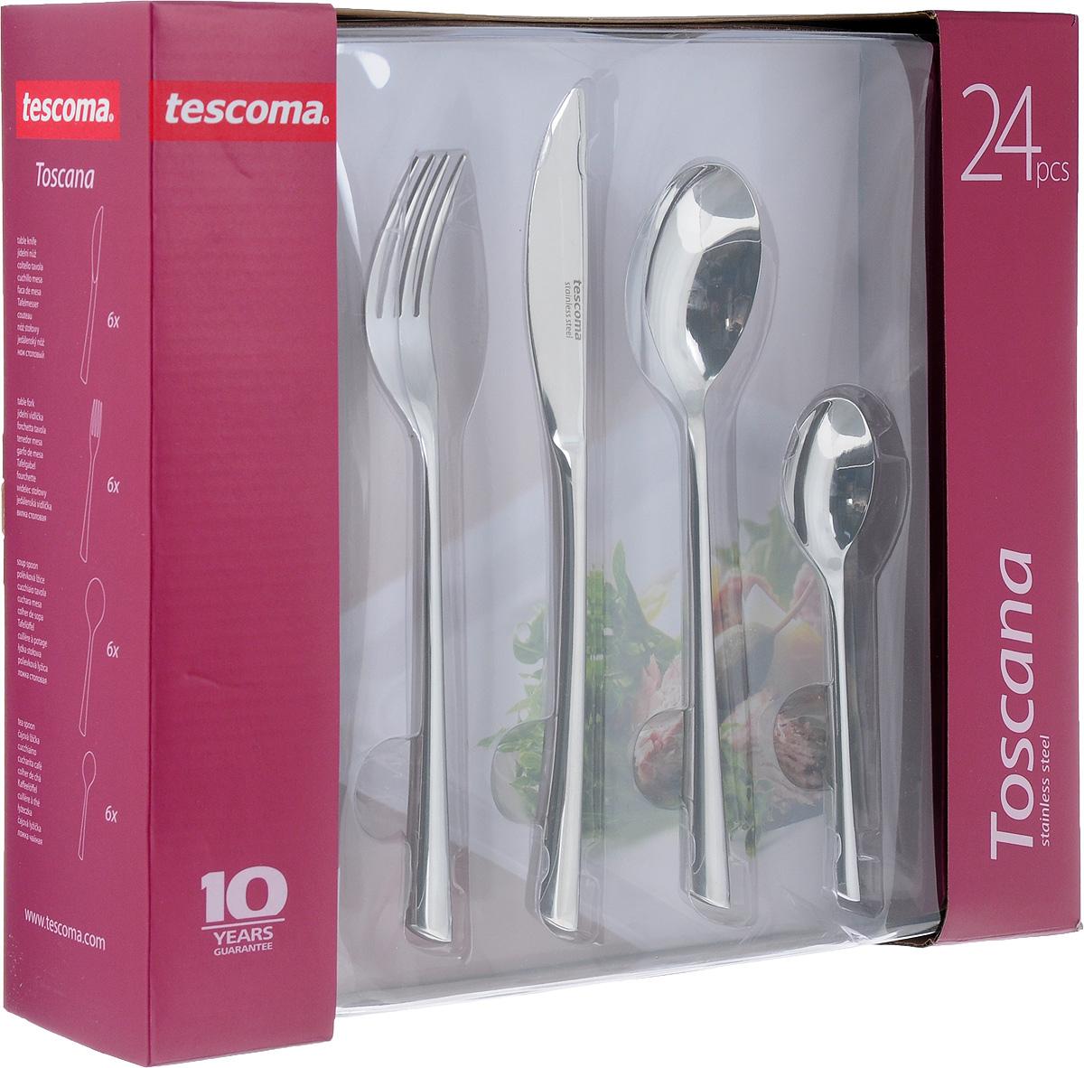 Набор столовых приборов Tescoma Toscana, 24 предмета397006Набор столовых приборов Tescoma Toscana включает 24 предмета: 6 столовых ножей, 6 столовых ложек, 6 столовых вилок и 6 чайных ложек. Приборы выполнены из прочной нержавеющей стали, которая придает столовым приборам блеск, а ножам необходимую остроту.Набор Tescoma Toscana поставляется в изящной упаковке и может служить готовым праздничным подарком! Создайте атмосферу уюта и праздника с безупречными столовыми приборами Tescoma Toscana.Изделия можно мыть в посудомоечной машине.Длина столовой ложки: 20 см.Размер рабочей части ложки: 4,5 х 6,5 см.Длина столовой вилки: 20,5 см.Размер рабочей части вилки: 2,3 х 6 см.Длина столового ножа: 22 см.Размер рабочей части ножа: 2 х 9 см.Длина чайной ложки: 13,2 см.Размер рабочей части чайной ложки: 3 х 4,5 см.