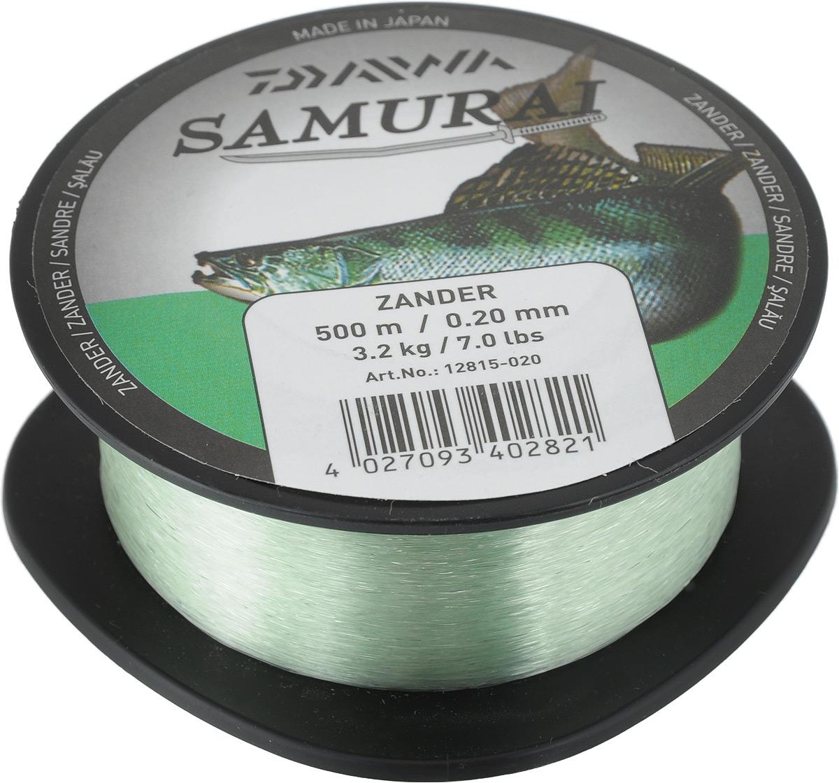 Леска Daiwa Samurai Zander, цвет: светло-зеленый, 500 м, 0,2 мм, 3,2 кг кожаные куртки мужские из натуральной кожи в спб