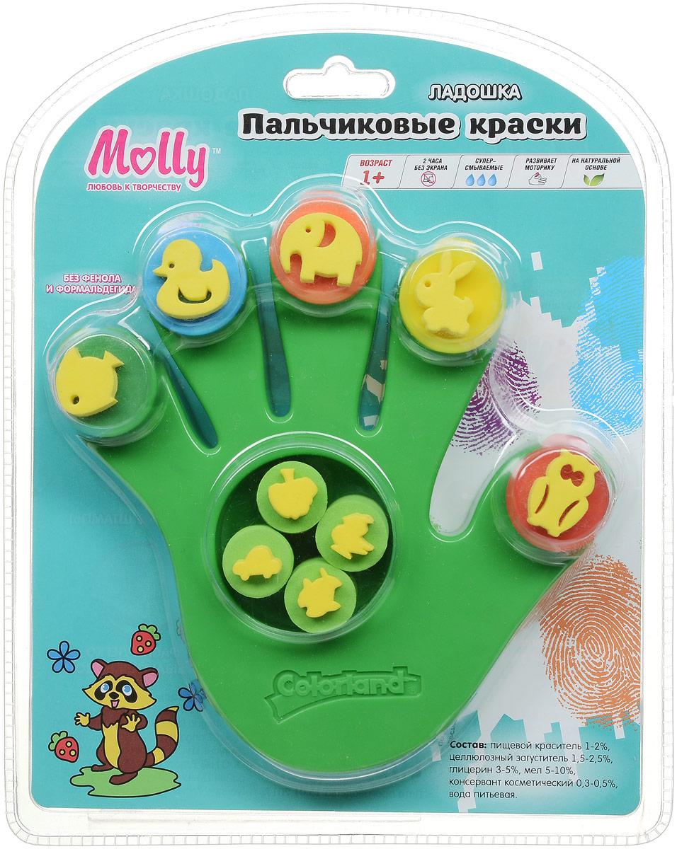 MollyКраски пальчиковые со штампами Ладошка цвет зеленый Molly