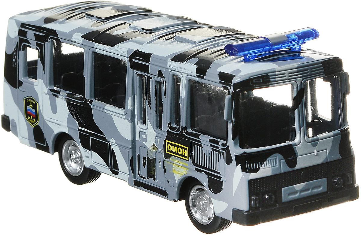ТехноПарк Автобус инерционный Омон ПАЗ 3206 спот ★ импортированные голубой автобус автобус автобус автомобиль тайо игрушка тянуть обратно автомобиль корея продукты