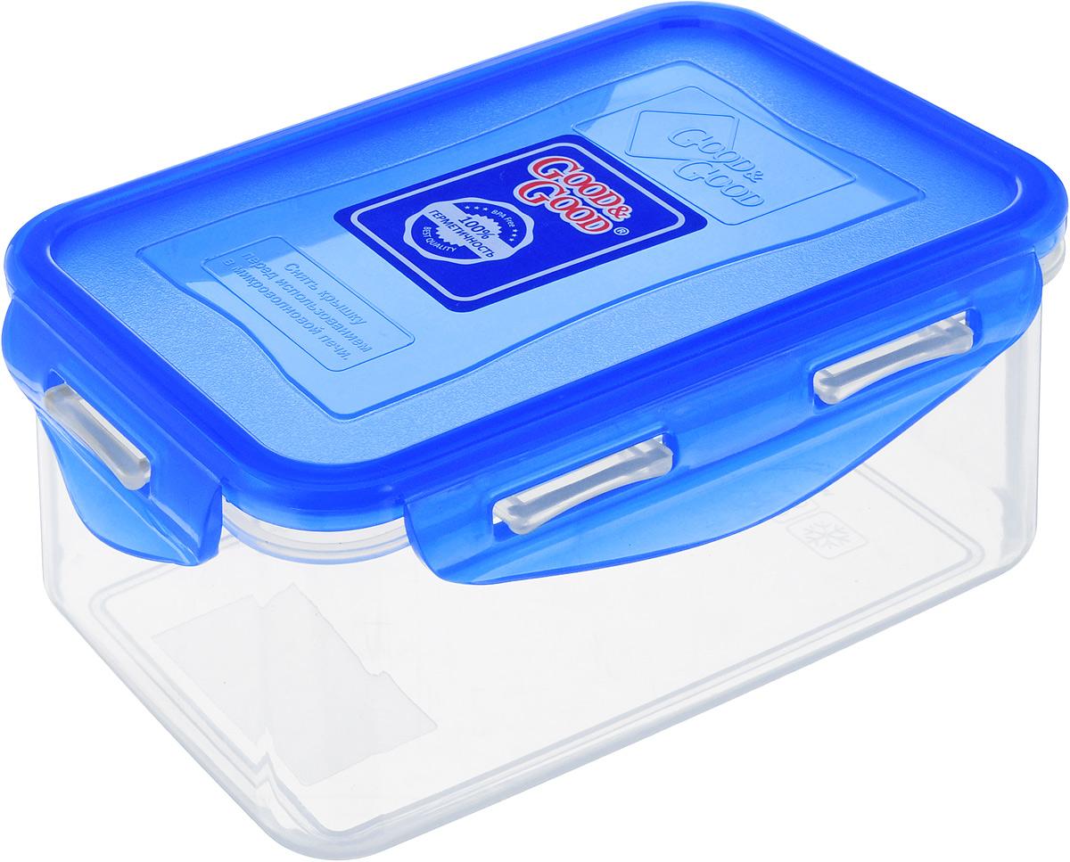 Контейнер Good&Good, цвет: прозрачный, синий, 0,8 л. B/COL 2-2B/COL 2-2Контейнер  Good&Good изготовлен из высококачественного пластика. Изделие идеально подходит не только для хранения, но и для транспортировки пищи. Контейнер имеет крышку, которая плотно закрывается на 4 защелки и оснащена специальной силиконовой прослойкой, предотвращающей проникновение влаги, запахов и вытекание жидкости. Изделие подходит для домашнего использования, для пикников, поездок, отдыха на природе, его можно взять с собой на работу или учебу.Выдерживают температуру от -24°С до +125°С. Можно использовать в СВЧ-печах, холодильниках и морозильных камерах. Можно мыть в посудомоечной машине.Размер контейнера (без учета крышки): 16 х 11 см. Высота контейнера (без учета крышки): 7 см.
