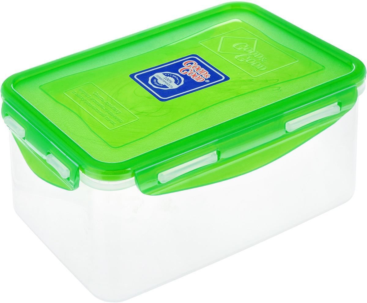 Контейнер Good&Good, цвет: прозрачный, зеленый, 1,5 л. B/COL 3-2B/COL 3-2Контейнер  Good&Good изготовлен из высококачественного пластика. Изделие идеально подходит не только для хранения, но и для транспортировки пищи. Контейнер имеет крышку, которая плотно закрывается на 4 защелки и оснащена специальной силиконовой прослойкой, предотвращающей проникновение влаги, запахов и вытекание жидкости. Изделие подходит для домашнего использования, для пикников, поездок, отдыха на природе, его можно взять с собой на работу или учебу.Выдерживают температуру от -24°С до +125°С. Можно использовать в СВЧ-печах, холодильниках и морозильных камерах. Можно мыть в посудомоечной машине.Размер контейнера (без учета крышки): 18 х 11,5 см. Высота контейнера (без учета крышки): 8,5 см.