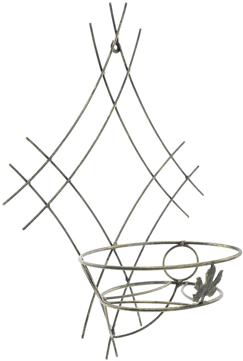 Подставка для цветов Фабрика ковки, настенная, на 1 цветок. 15-00115-001Кованая подставка Фабрика ковки станет прекрасным украшением любого интерьера. Она изготовлена из прочных металлических прутьев ивыполнена в виде сетки. Подставка предназначена для размещения одного цветка.Размер подставки: 51 х 34 х 21,5 см.Диаметр полки (по верхнему краю): 21 см.