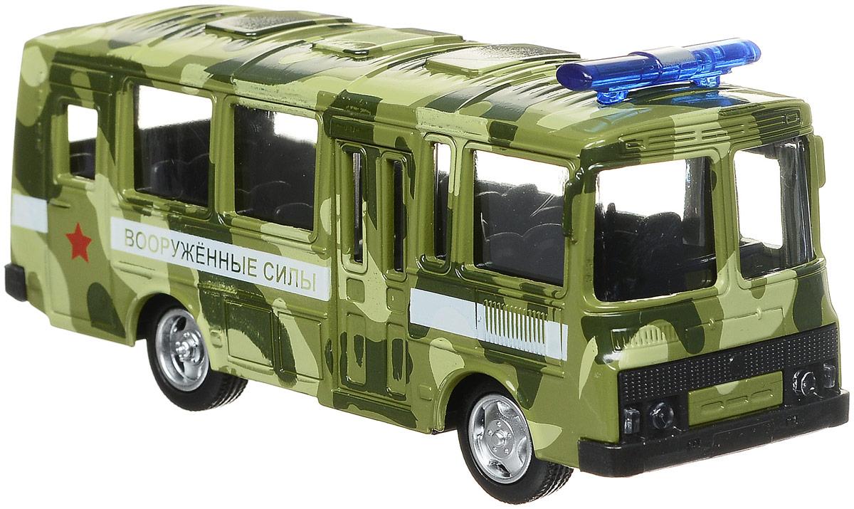 ТехноПарк Автобус инерционный Вооруженные силы ПАЗ 3206 спот ★ импортированные голубой автобус автобус автобус автомобиль тайо игрушка тянуть обратно автомобиль корея продукты