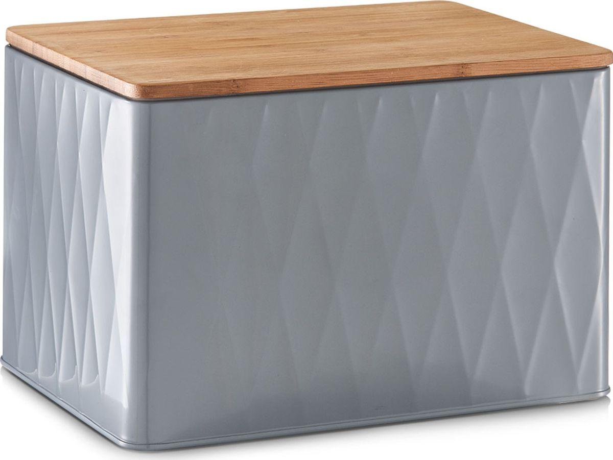 Хлебница Zeller, с разделочной доской, цвет: серый, светло-коричневый, 27,8 х 20,2 х 19 см19326Хлебница Zeller представляет собой контейнер из металла с крышкой. Крышка выполнена из дерева, которая также служит разделочной доской. Такая хлебница позволит сохранить ваш хлеб свежим и вкусным.