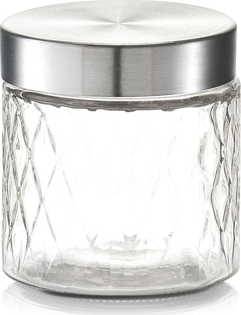 Банка для сыпучих продуктов Zeller, цвет: прозрачный, серый, 750 мл банка для продуктов zeller диаметр 22 см