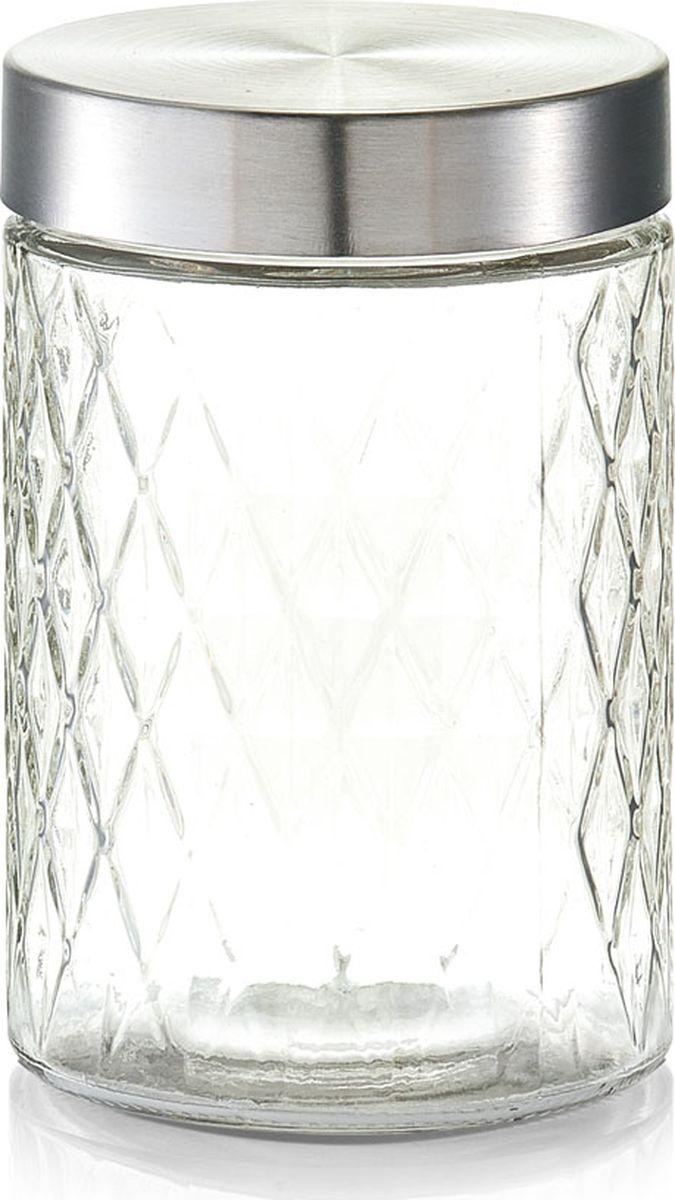 Банка для сыпучих продуктов Zeller, цвет: прозрачный, серый, 1200 мл банка для продуктов zeller диаметр 22 см