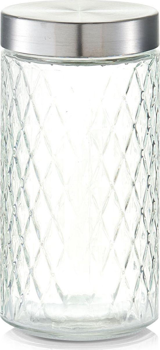 Банка для сыпучих продуктов Zeller, цвет: прозрачный, серый, 1,5 л емкость для сыпучих продуктов idea деко гжель 1 л