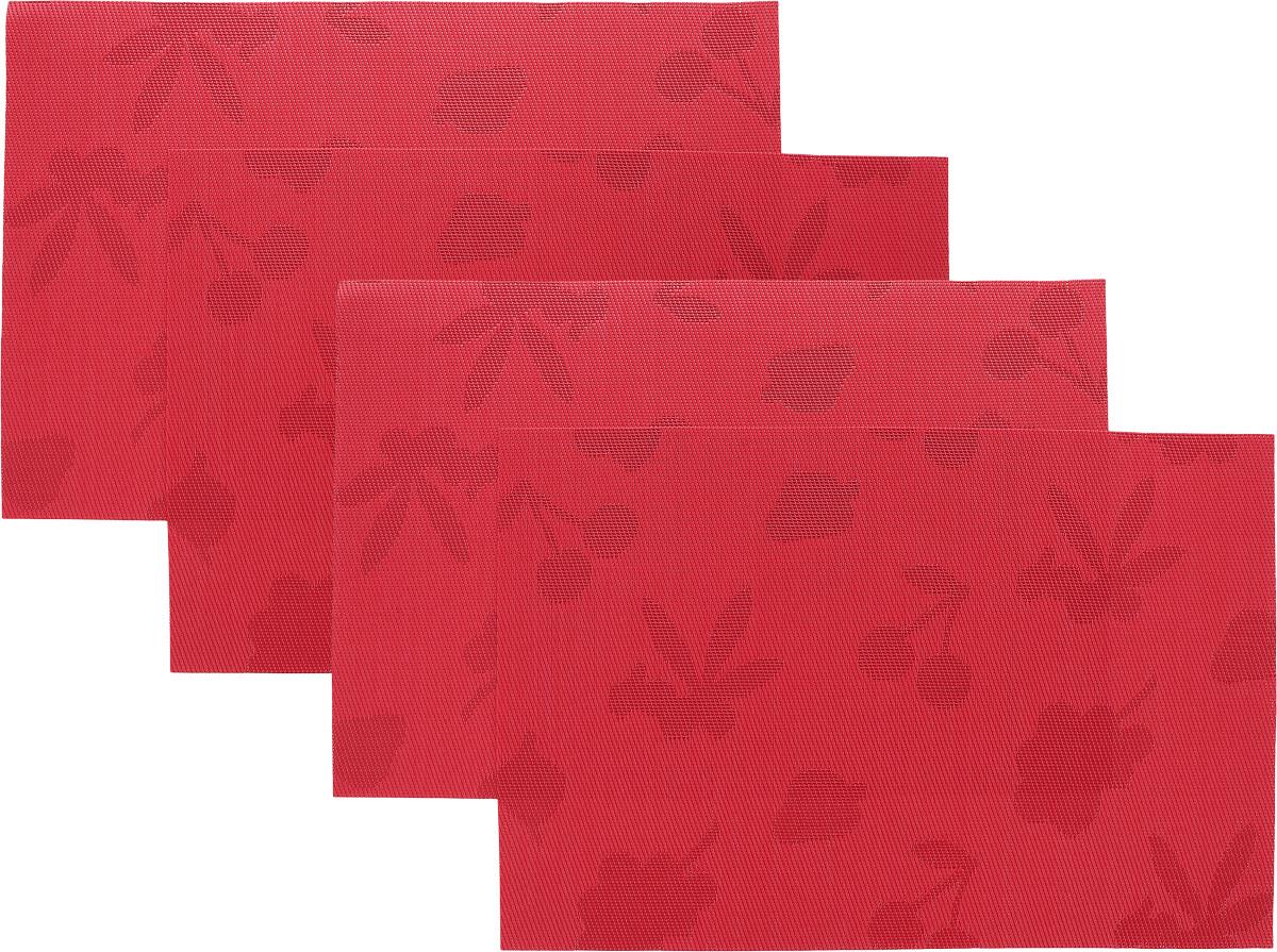 Набор сервировочных салфеток Oursson Ягоды, 30 х 45 см, 4 штHS89598/RDНабор Oursson Ягоды состоит из 4 салфеток, изготовленных на 70% из ПВХ и на 30% из полиэстера, они не впитывают влагу и легко моются.Набор салфеток предназначен для сервировки стола и украшения интерьера кухни, столовой или гостиной. Для ухода за салфетками можно использовать любые моющие средства. Необычный дизайн, практичность и высокая износостойкость делают салфетки удобным и полезным аксессуаром для дома.Салфетка станет прекрасным завершающим элементом в сервировке стола. С ней любой ужин будет как праздничный.Размер: 30 х 45 см.