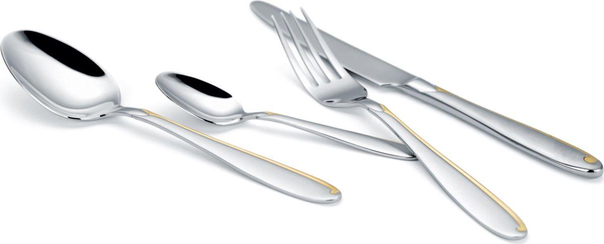 Набор столовых приборов Vitesse Blithe, 24 предметаVS-1772Набор столовых приборов Vitesse Blithe включает в себя 24 предмета: 6 ножей, 6 вилок, 6 столовых ложек, 6 чайных ложек. Предметы набора выполнены из высококачественной нержавеющей стали 18/10 с зеркальной полировкой и декоративным тиснением. Декоративные элементы имеют покрытие из золота в 24 карат. Изысканный лаконичный дизайн и безупречная полировка столовых приборов украсят любую сервировку и создадут неповторимую атмосферу за вашим столом. Изделия можно мыть в посудомоечной машине. Набор упакован в подарочную коробку. Каждый предмет надежно фиксируется благодаря особым выемкам.