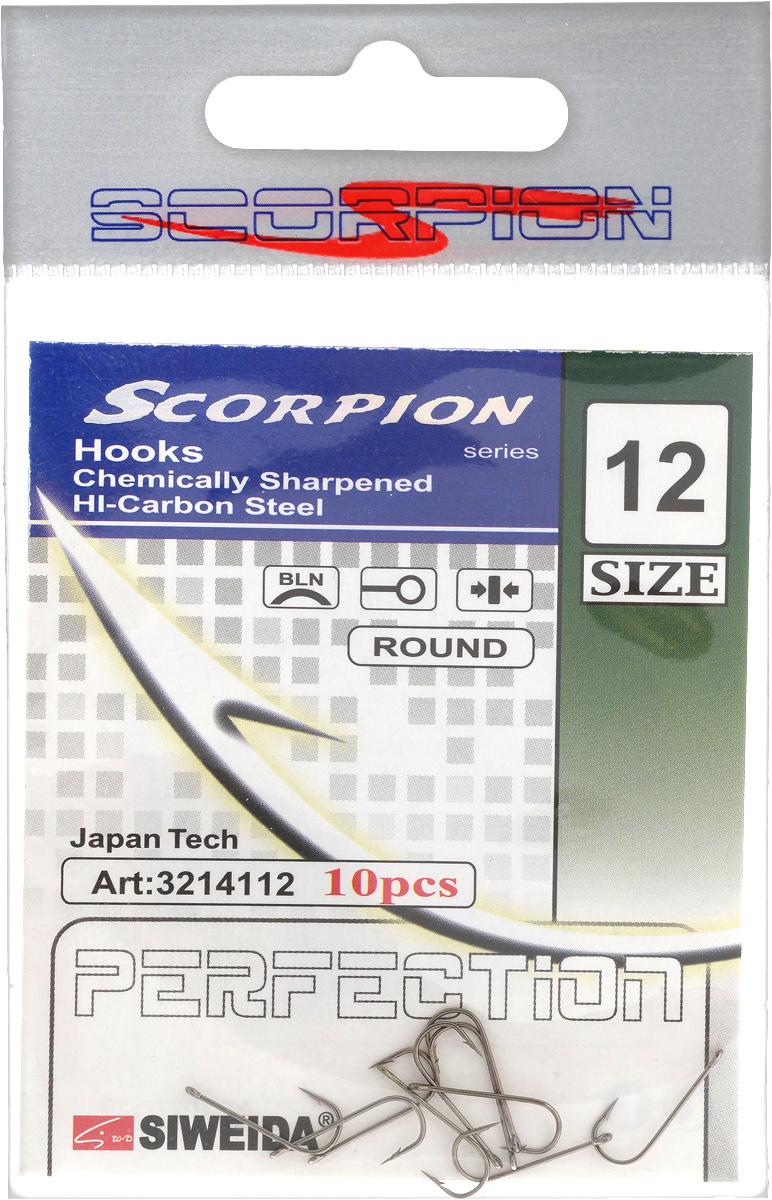 Крючок рыболовный SWD Scorpion, Round, №12, 10 шт