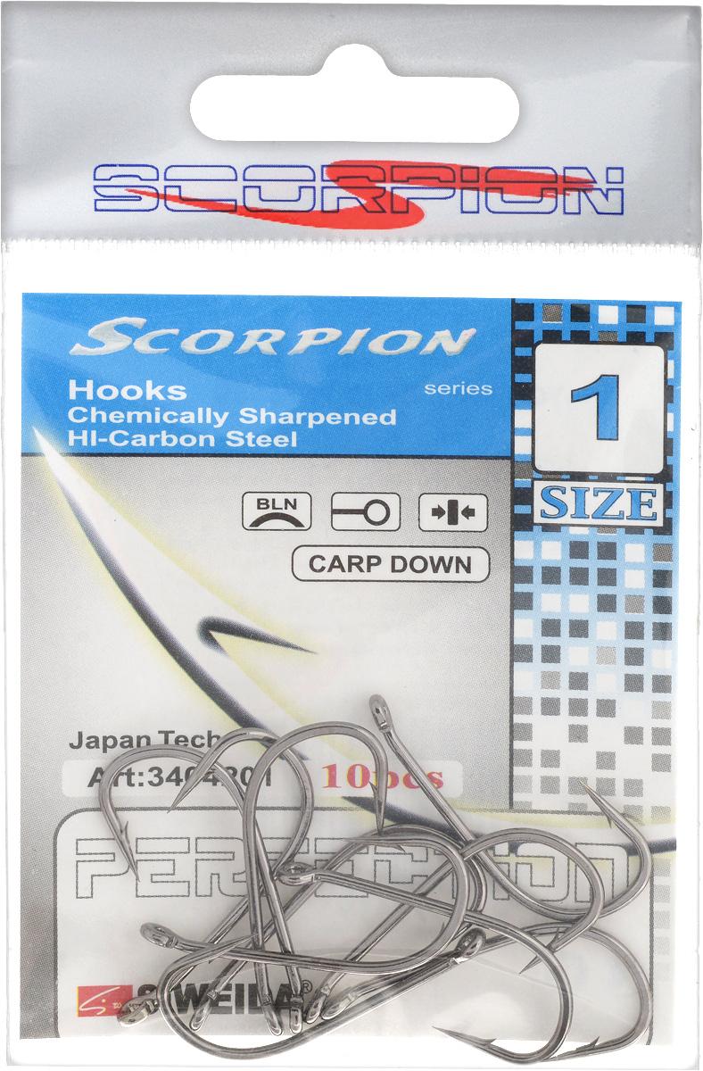 Крючок рыболовный SWD Scorpion, Carp Down, №1, 10 шт0021179Бюджетный одинарный крючок SWD Scorpion с колечком выполнен из высококачественной углеродистой легированной проволоки. Применяется новейшая технология термообработки. Стойкое антикоррозийное покрытие обеспечивает крючкам долгий срок эксплуатации. Жала крючков подвержены электрохимической обработке. Кованный поддев.