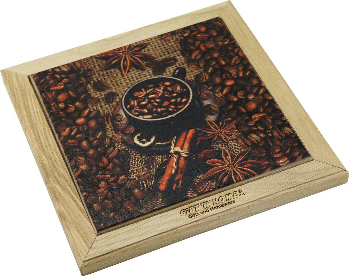 Подставка под горячее Giftnhome Кофе-Мокка, 20 х 20 смWTR-CoffeПодставка Giftnhome Кофе-Мокка изготовлена из ценных пород древесины, дуб/бук, выполнена с декоративной вставкой из качественной фанеры, с нанесением цветных фотопринтов. Такая подставка украсит интерьер вашей кухни и подчеркнет прекрасный вкус хозяина, а также станет отличным подарком. Размер подставки: 20 х 20 см.