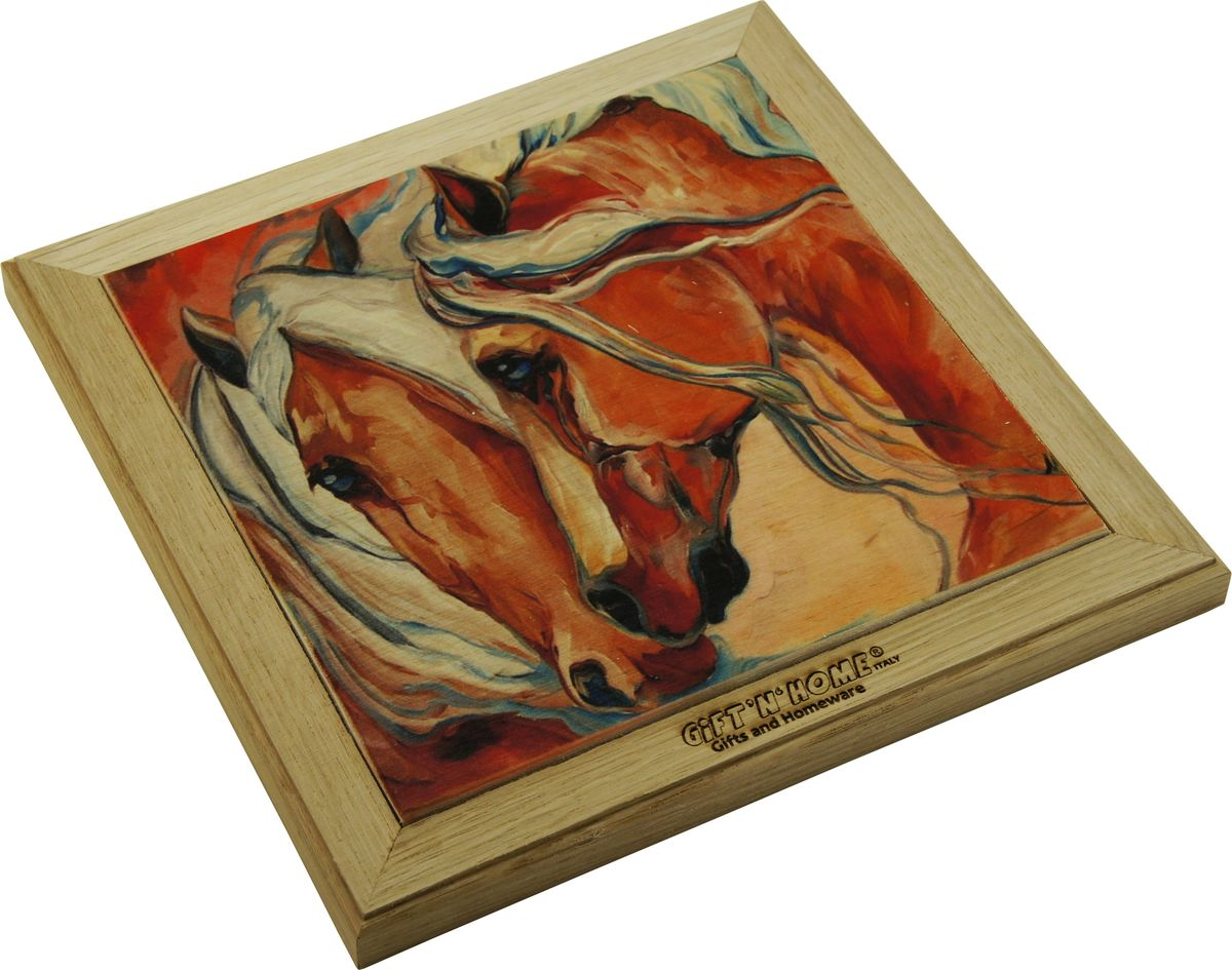 Подставка под горячее Giftnhome Фантазия о лошадях, 20 х 20 смWTR-FantasyПодставка из ценных пород древесины, дуб/ бук , с декоративной вставкой из качественной фанеры, с нанесением цветных фотопринтов. Данный товар несет двойную потребительскую функцию, обеспечивая декоративное и хозяйственное назначение. Он может быть использован для украшения помещений в качестве настенного панно и как подставка под горячую посуду.