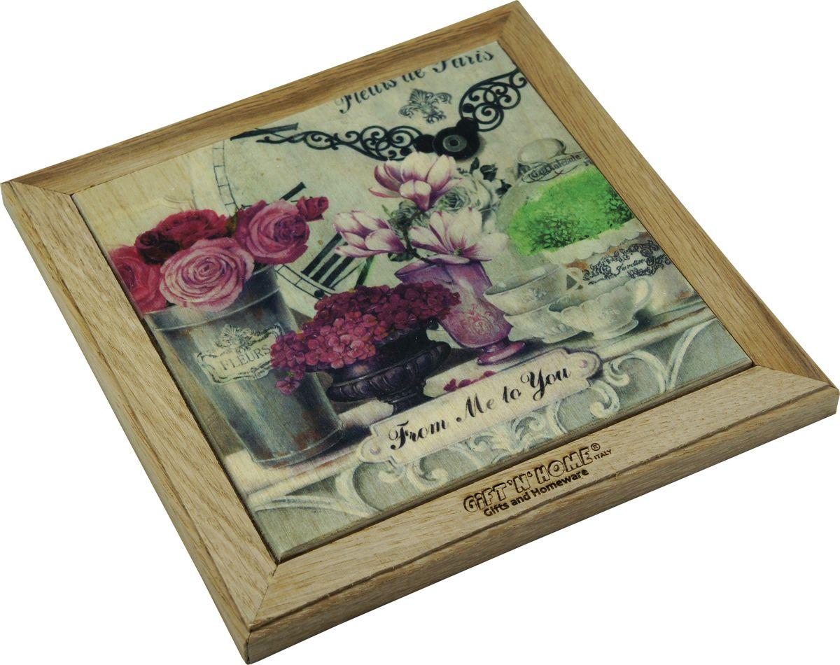 Подставка под горячее Giftnhome Парижские цветы, 20 х 20 смWTR-FleursПодставка Giftnhome Парижские цветы изготовлена из ценных пород древесины, дуб/бук, выполнена с декоративной вставкой из качественной фанеры, с нанесением цветных фотопринтов. Такая подставка украсит интерьер вашей кухни и подчеркнет прекрасный вкус хозяина, а также станет отличным подарком. Размер подставки: 20 х 20 см.