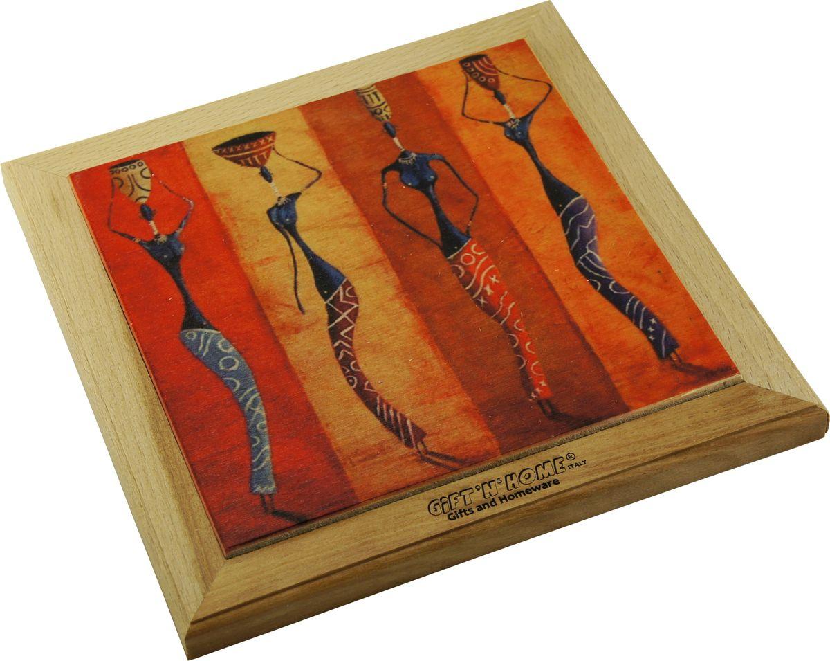 Подставка под горячее Gift'n'home Африканские мотивы, цвет: дерево, 20 х 20 см