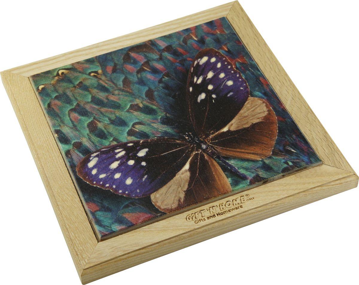 Подставка под горячее Giftnhome Волшебная бабочка, 20 х 20 смWTR-Волш.БабочкаПодставка под горячее GiftnHome выполнена из ценных пород древесины - дуб и бук. Она имеет декоративную вставку из качественной фанеры с нанесением цветного фотопринта. Подставка несет двойную потребительскую функцию, обеспечивая декоративное и хозяйственное назначение. Она может быть использована для украшения помещений в качестве настенного панно и как подставка под горячую посуду.