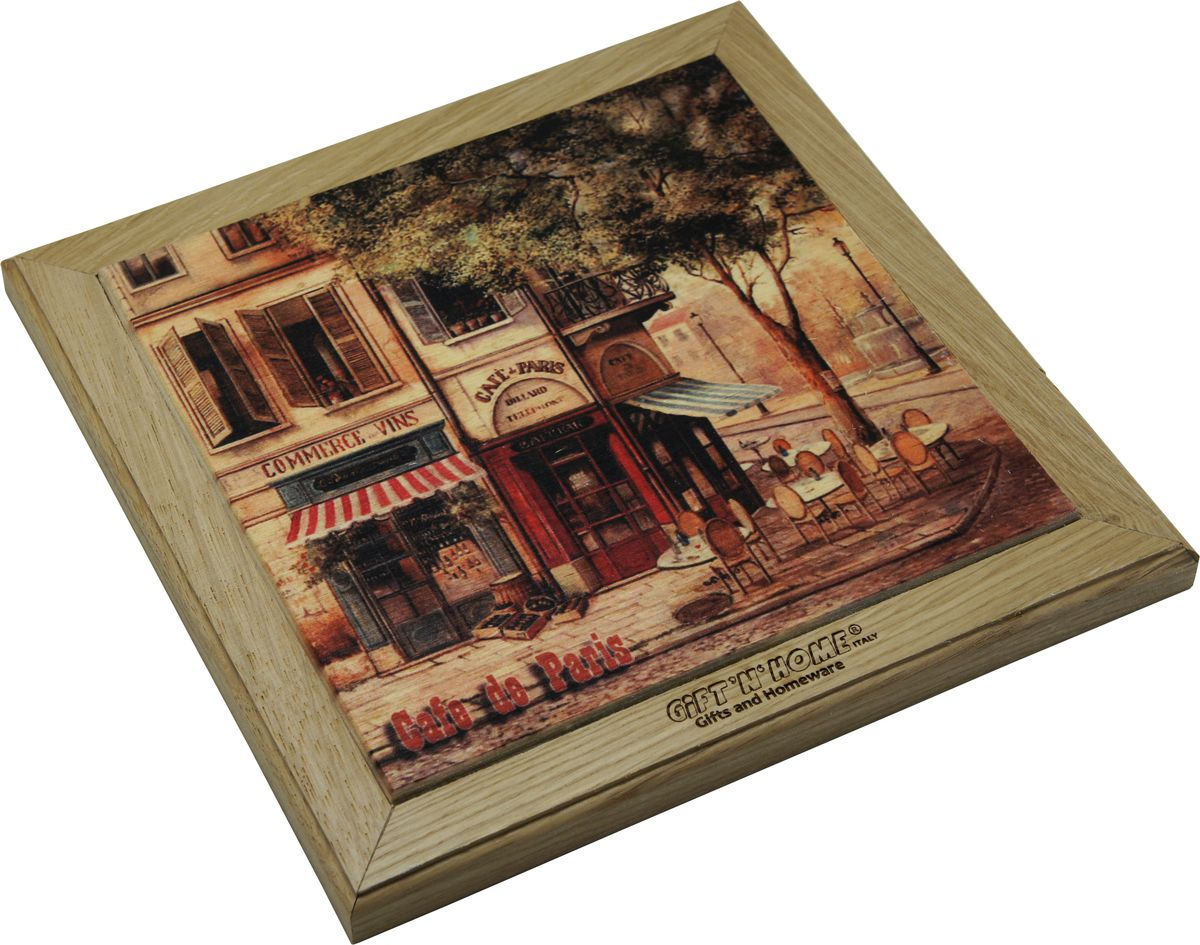 Подставка под горячее Gift'n'home Парижское кафе, цвет: дерево, 20 х 20 см
