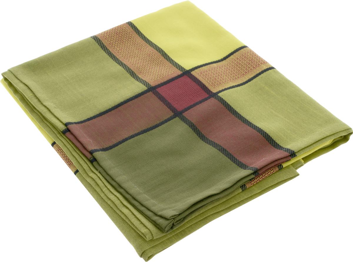 """Жаккардовая скатерть """"ТД Текстиль"""" прямоугольной формы, выполненная из полиэстера, станет изысканным украшением кухонного стола.  За текстилем из полиэстера очень легко ухаживать: он не мнется, не садится и быстро сохнет, легко стирается, более долговечен, чем текстиль из натуральных волокон.Использование такой скатерти сделает застолье торжественным, поднимет настроение гостей и приятно удивит их вашим изысканным вкусом. Также вы можете использовать эту скатерть для повседневной трапезы, превратив каждый прием пищи в волшебный праздник и веселье. Это текстильное изделие станет изысканным украшением вашего дома!"""