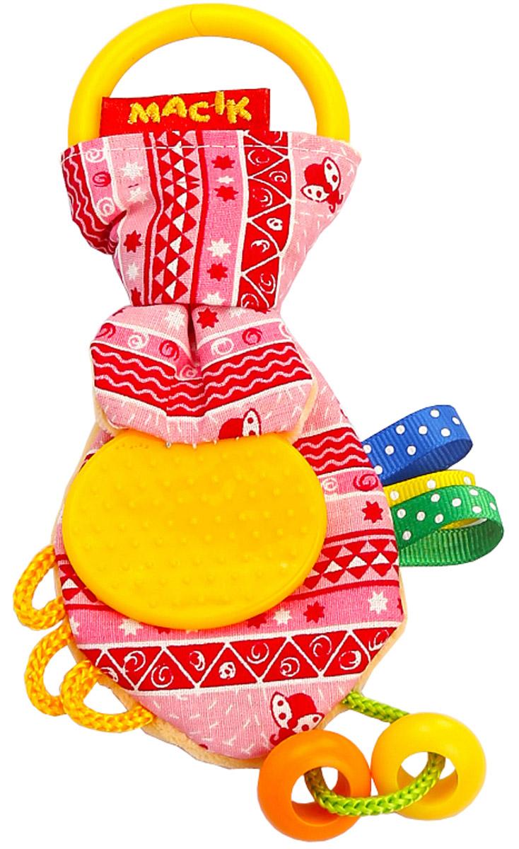 Macik Забавка Ушки с прорезывателем цвет розовый прорезыватели macik забавка треугольник с колечками