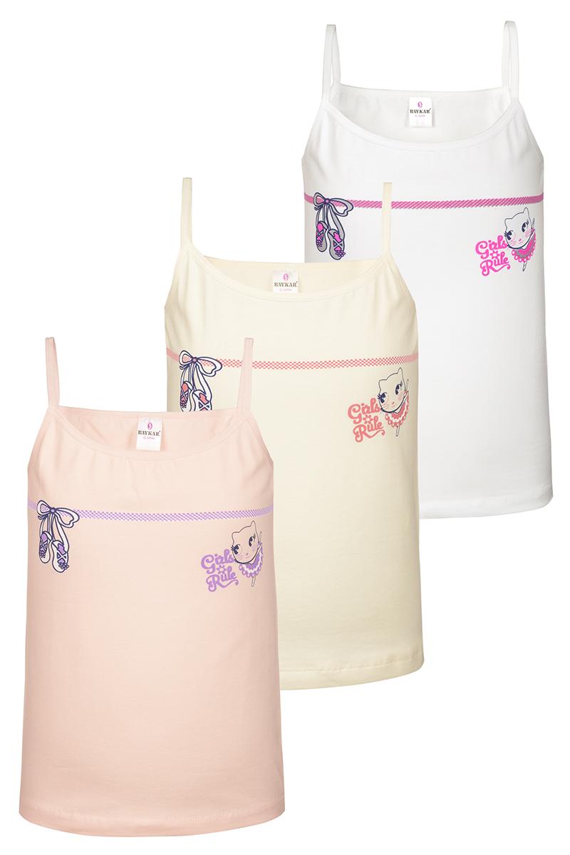 Майка для девочки Baykar, цвет: белый, молочный, персиковый, мультиколор, 3 шт. N4346-22. Размер 146/152 майки