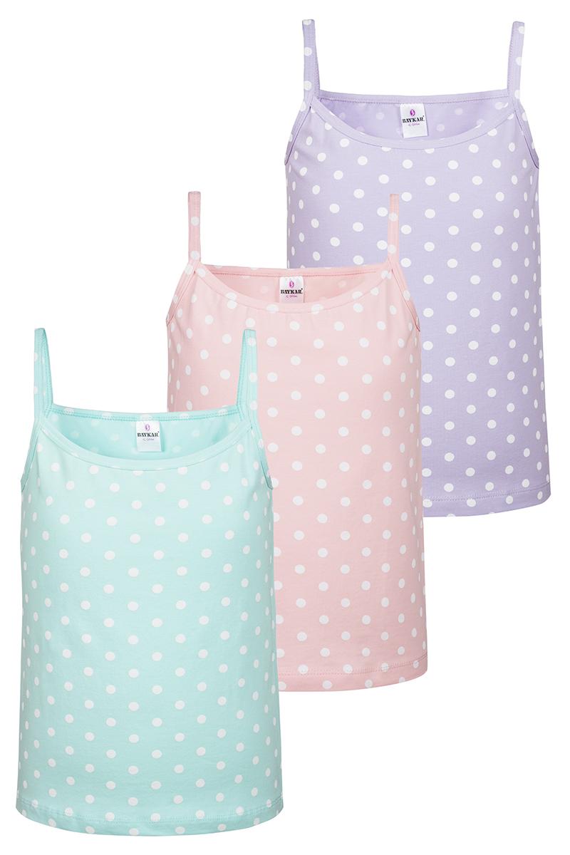 Майка для девочки Baykar, цвет: фиолетовый, персиковый, бирюзовый, белый, 3 шт. N4474-22. Размер 98/104 майки