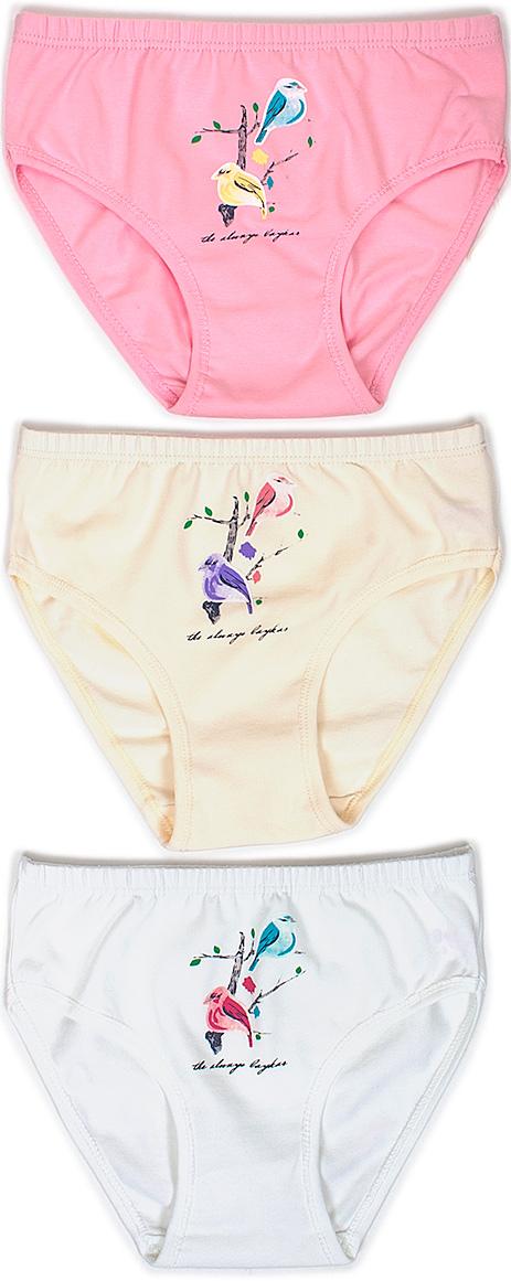 Трусы для девочки Baykar, цвет: белый, молочный, розовый, мультиколор, 3 шт. N5434-22. Размер 122/128 трусы шорты для девочки baykar цвет мультиколор 3 шт n5520 22 размер 110 116