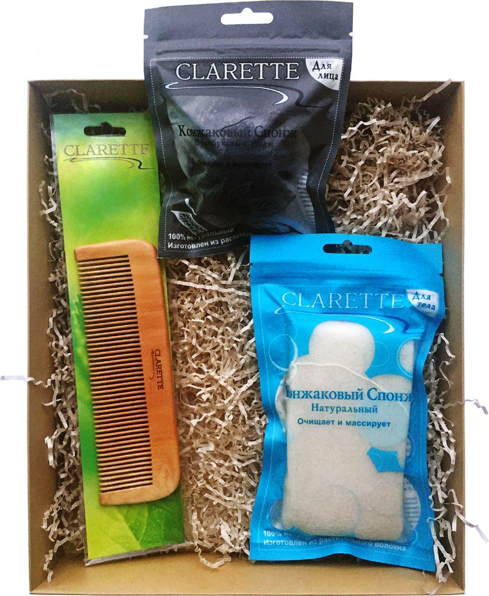 Clarette Beauty Box №5 ЭКО, подарочный наборCBB 654Подарочный набор включает три предмета д:CKS 428 CLARETTE Конжаковый спонж с бамбуковым углем для лица;CKS 429 CLARETTE Конжаковый спонж натуральный для тела,белый;CWC 482 Расческа для волос деревянная прямая. CKS 428 CLARETTE Конжаковый спонж с бамбуковым углем для лица. Подходит для жирной и проблемной кожи . Очищает и массирует 100% натуральный. Изготовлен из растительного волокна. Растение Конжак выращивается в горах Японии и Китая и имеет более 2000-летнюю историю применения в оздоровительном питании и косметологии. Конжаковыеспонжи из готавливаются из 100% чистого натурального конжакового волокна,богатого своими полезными компонентами. Один из них, глюкоманан, способствует мягкому удалению отмершего рогового слоя кожи, бережно и тщательно очищает поры, не повреждая поверхностть кожи, делает ее сияющей и ослепительно чистой. Благодаря глюкоманану, конжаковое волокно имеет удивительную способность удерживать воду делая спонж невероятно мягким и нежным. Благодаря необычайно мягкой структуре, спонж аккуратно очищает, массирует и увлажняет кожу, придавая ей натуральный блеск - эффективно борется с бактериями, вызывающими угревую сыпь (акне)- балансирует PH кожи. ;CKS 429 CLARETTE Конжаковый спонж натуральный для тела. Конжаковый спонж натуральный для тела. Очищает и массирует 100% натуральный. Изготовлен из растительного волокна. Растение Конжак выращивается в горах Японии и Китая и имеет более 2000-летнюю историю применения в оздоровительном питании и косметологии. Конжаковыеспонжи из готавливаются из 100% чистого натурального конжакового волокна,богатого своими полезными компонентами. Один из них, глюкоманан, способствует мягкому удалению отмершего рогового слоя кожи, бережно и тщательно очищает поры, не повреждая поверхностть кожи, делает ее сияющей и ослепительно чистой. Благодаря глюкоманану, конжаковое волокно имеет удивительную способность удерживать воду делая спонж невероятно мягким и нежным. Благодаря нео