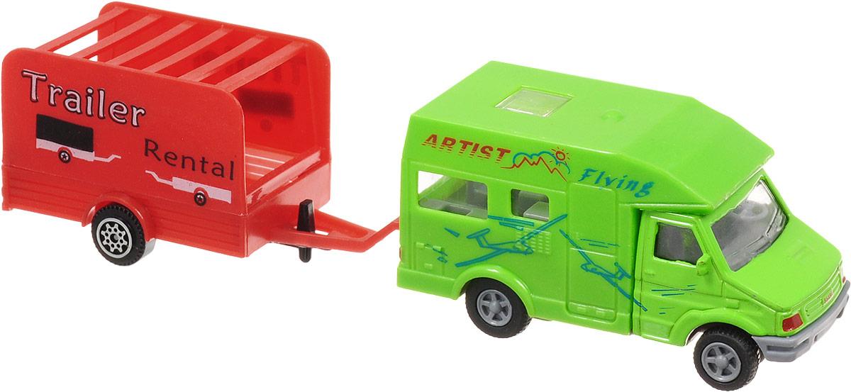 S+S Toys Микроавтобус инерционный с прицепом цвет зеленый красный как и где купить микроавтобус