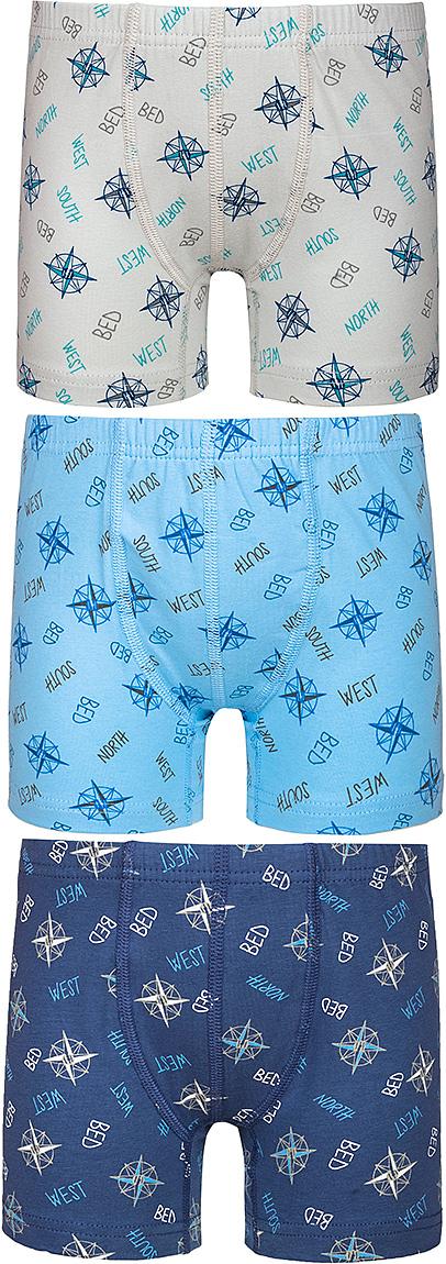 Трусы-боксеры для мальчика Baykar, цвет: синий, голубой, молочный, мультиколор, 3 шт. N3128-22. Размер 170/176 baykar baykar майка для мальчика серая