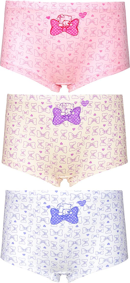 Трусы для девочки Baykar, цвет: розовый, молочный, белый, красный, фиолетовый, 3 шт. N5466-22. Размер 146/152 baykar baykar майка для мальчика серая